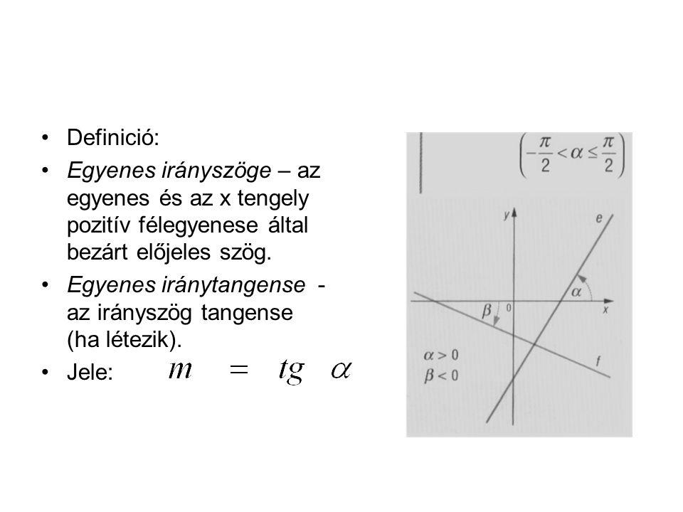 Definició: Egyenes irányszöge – az egyenes és az x tengely pozitív félegyenese által bezárt előjeles szög. Egyenes iránytangense - az irányszög tangen