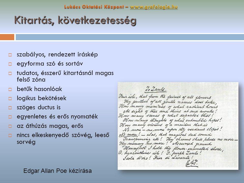 Kitartás, következetesség  szabályos, rendezett íráskép  egyforma szó és sortáv  tudatos, ésszerű kitartásnál magas felső zóna  betűk hasonlóak 