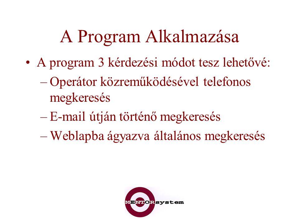 A Program Alkalmazása A program 3 kérdezési módot tesz lehetővé: –Operátor közreműködésével telefonos megkeresés –E-mail útján történő megkeresés –Weblapba ágyazva általános megkeresés
