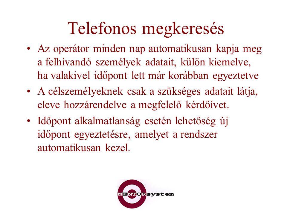Telefonos megkeresés Az operátor minden nap automatikusan kapja meg a felhívandó személyek adatait, külön kiemelve, ha valakivel időpont lett már korá