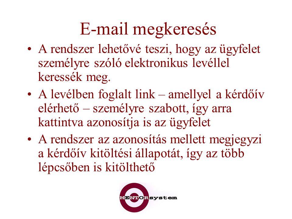 E-mail megkeresés A rendszer lehetővé teszi, hogy az ügyfelet személyre szóló elektronikus levéllel keressék meg. A levélben foglalt link – amellyel a