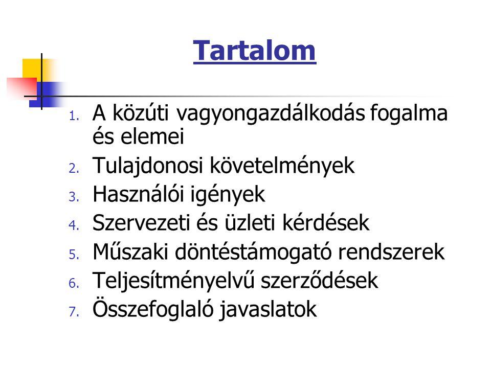 Tartalom 1. A közúti vagyongazdálkodás fogalma és elemei 2.