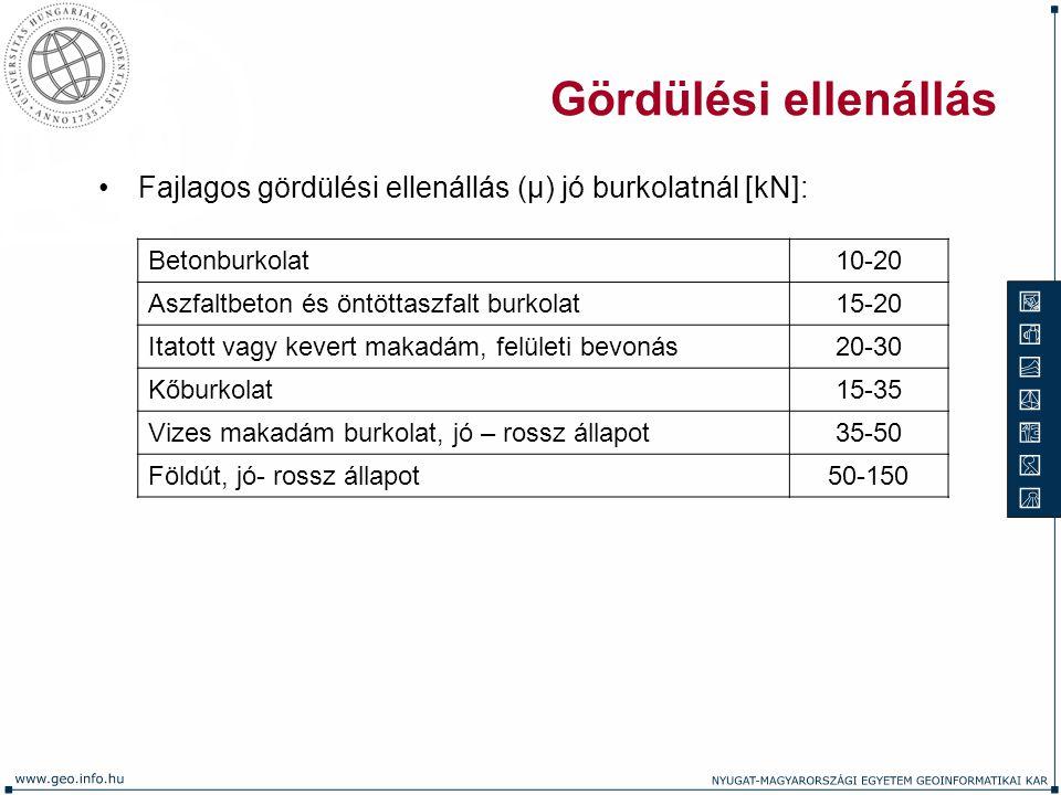 Gördülési ellenállás Fajlagos gördülési ellenállás (μ) jó burkolatnál [kN]: Betonburkolat10-20 Aszfaltbeton és öntöttaszfalt burkolat15-20 Itatott vag