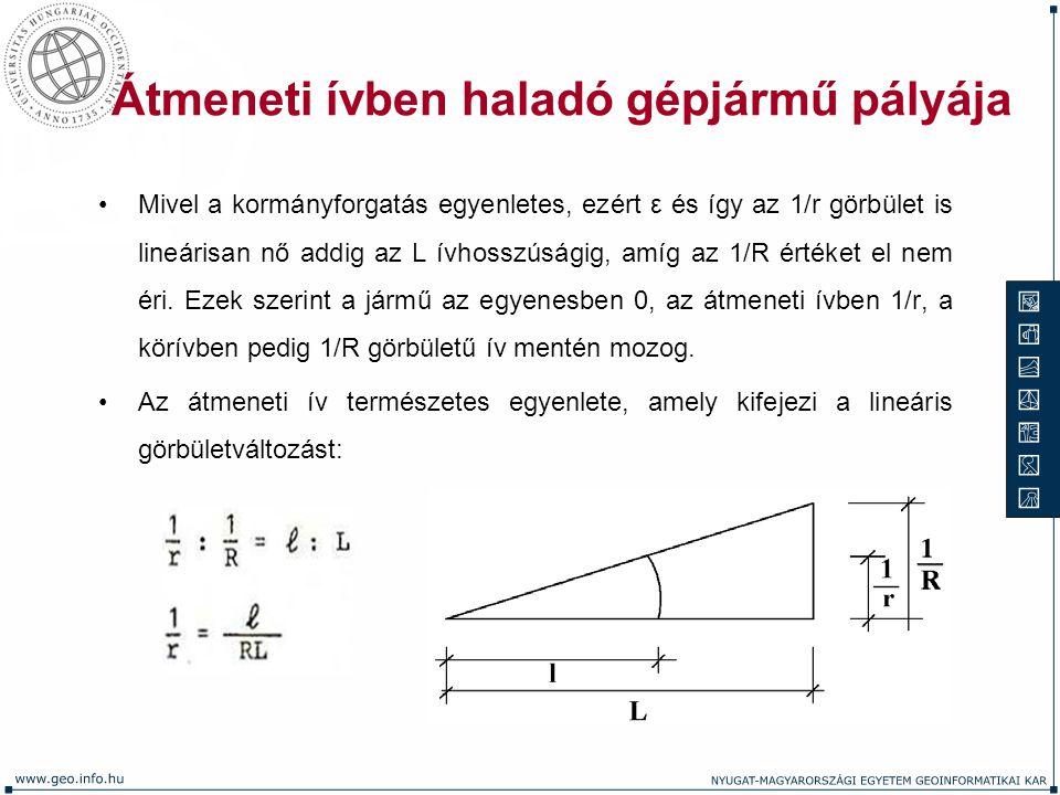 Átmeneti ívben haladó gépjármű pályája Mivel a kormányforgatás egyenletes, ezért ε és így az 1/r görbület is lineárisan nő addig az L ívhosszúságig, a