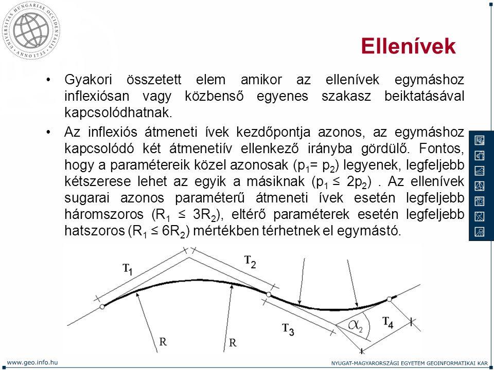Ellenívek Gyakori összetett elem amikor az ellenívek egymáshoz inflexiósan vagy közbenső egyenes szakasz beiktatásával kapcsolódhatnak. Az inflexiós á