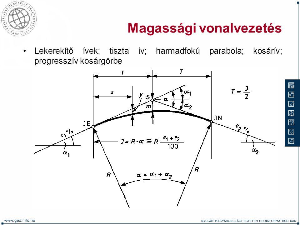 Magassági vonalvezetés Lekerekítő ívek: tiszta ív; harmadfokú parabola; kosárív; progresszív kosárgörbe