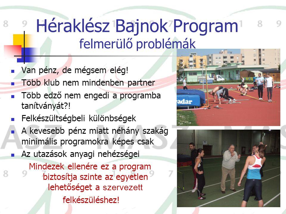Héraklész Bajnok Program felmerülő problémák Van pénz, de mégsem elég! Több klub nem mindenben partner Több edző nem engedi a programba tanítványát?!
