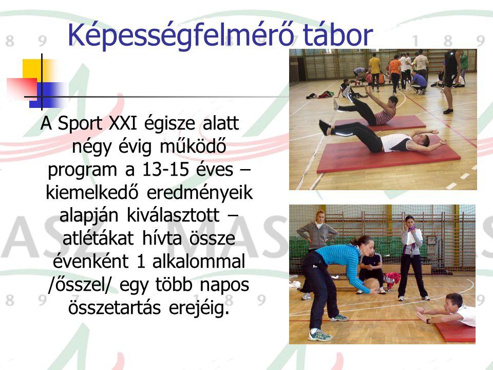 Képességfelmérő tábor A Sport XXI égisze alatt négy évig működő program a 13-15 éves – kiemelkedő eredményeik alapján kiválasztott – atlétákat hívta ö