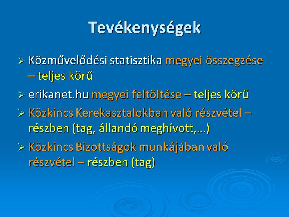 Tevékenységek  Közművelődési statisztika megyei összegzése – teljes körű  erikanet.hu megyei feltöltése – teljes körű  Közkincs Kerekasztalokban való részvétel – részben (tag, állandó meghívott,…)  Közkincs Bizottságok munkájában való részvétel – részben (tag)