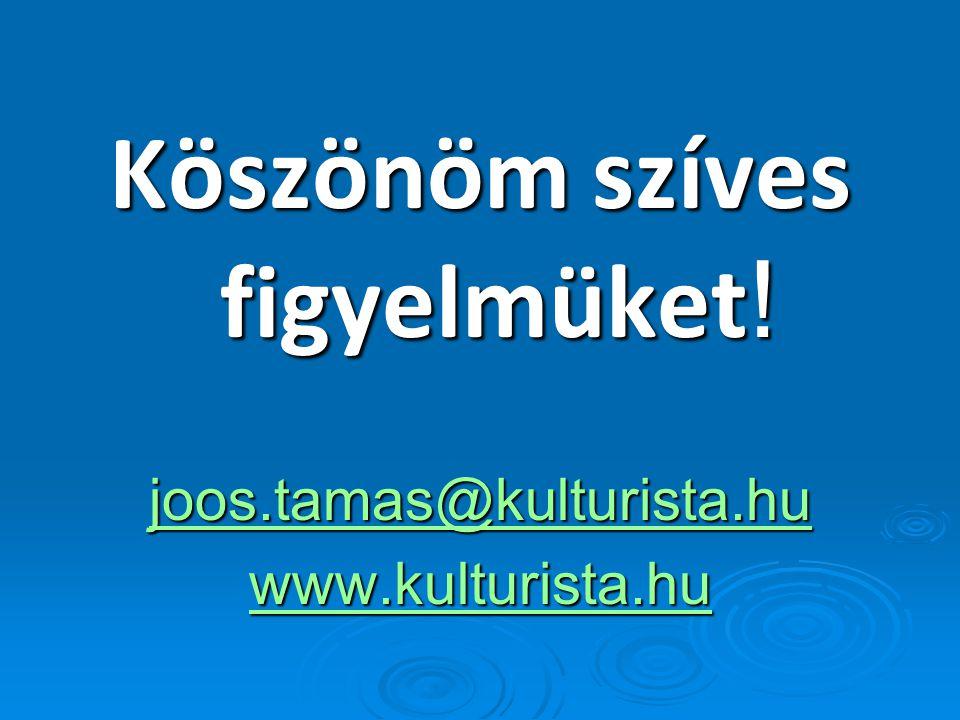 Köszönöm szíves figyelmüket ! joos.tamas@kulturista.hu www.kulturista.hu