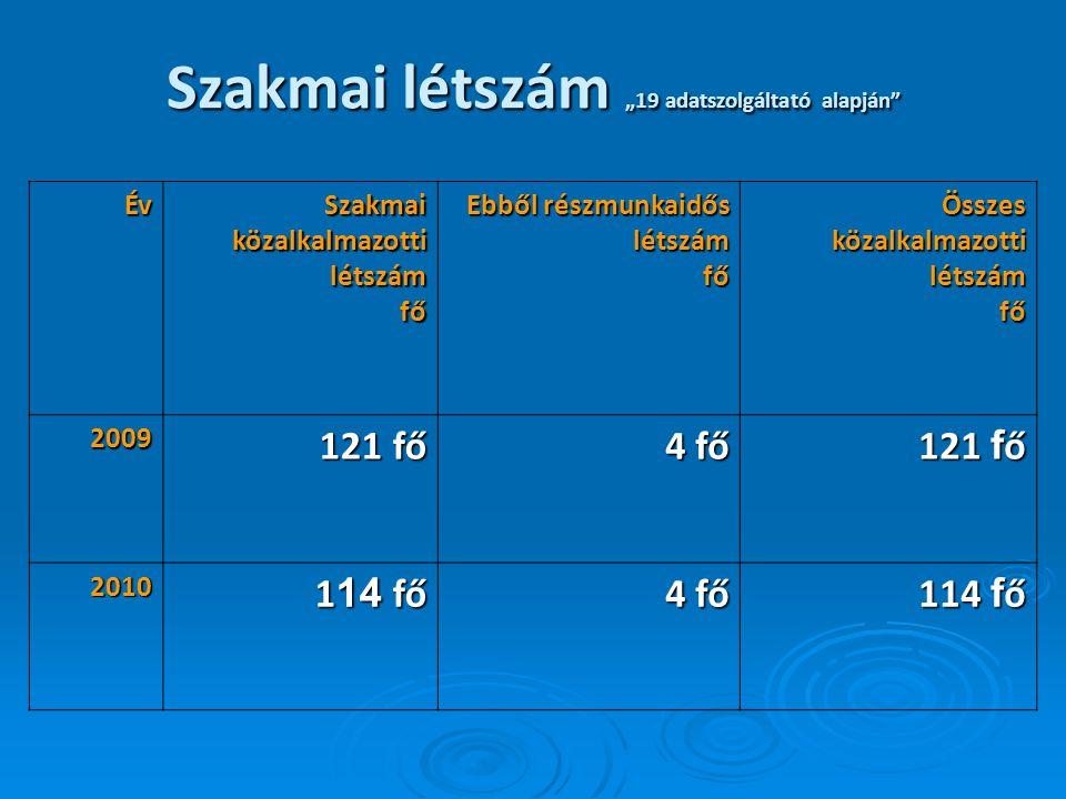 """Szakmai létszám """"19 adatszolgáltató alapján Év Szakmai közalkalmazotti létszám fő Ebből részmunkaidős létszámfő Összes közalkalmazotti létszám fő fő 2009 121 fő 121 fő 4 fő 121 f ő 2010 1 14 fő 1 14 fő 4 fő 114 f ő"""