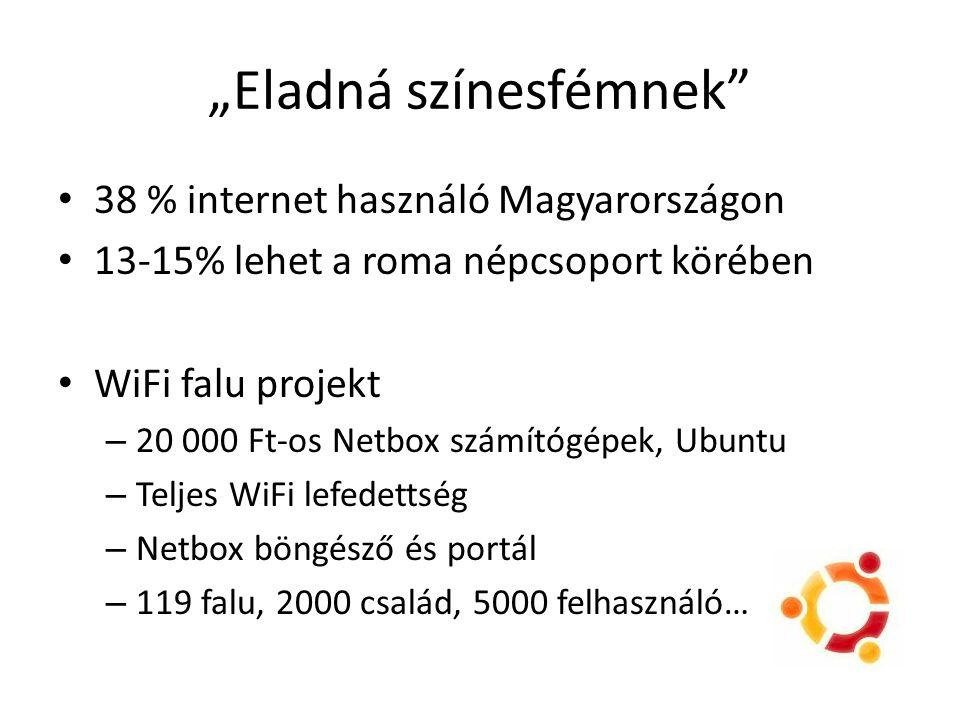 38 % internet használó Magyarországon 13-15% lehet a roma népcsoport körében WiFi falu projekt – 20 000 Ft-os Netbox számítógépek, Ubuntu – Teljes WiF