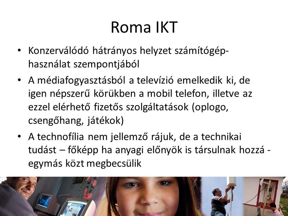 Roma IKT Konzerválódó hátrányos helyzet számítógép- használat szempontjából A médiafogyasztásból a televízió emelkedik ki, de igen népszerű körükben a