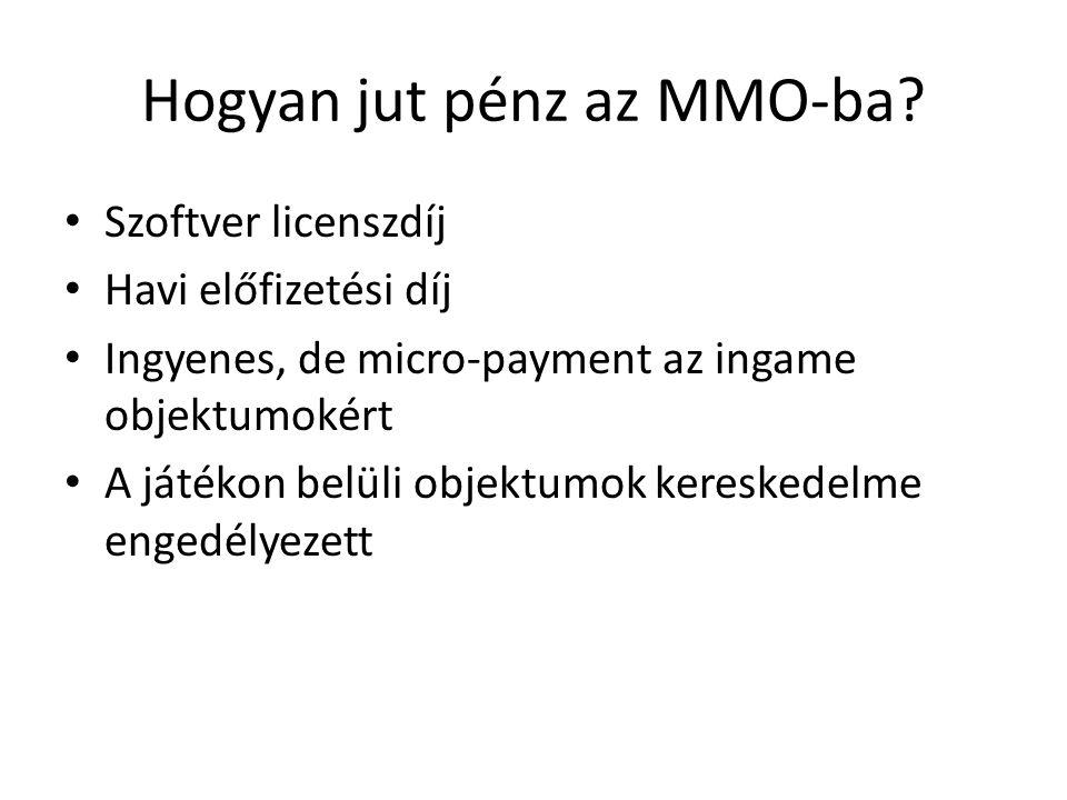 Hogyan jut pénz az MMO-ba? Szoftver licenszdíj Havi előfizetési díj Ingyenes, de micro-payment az ingame objektumokért A játékon belüli objektumok ker