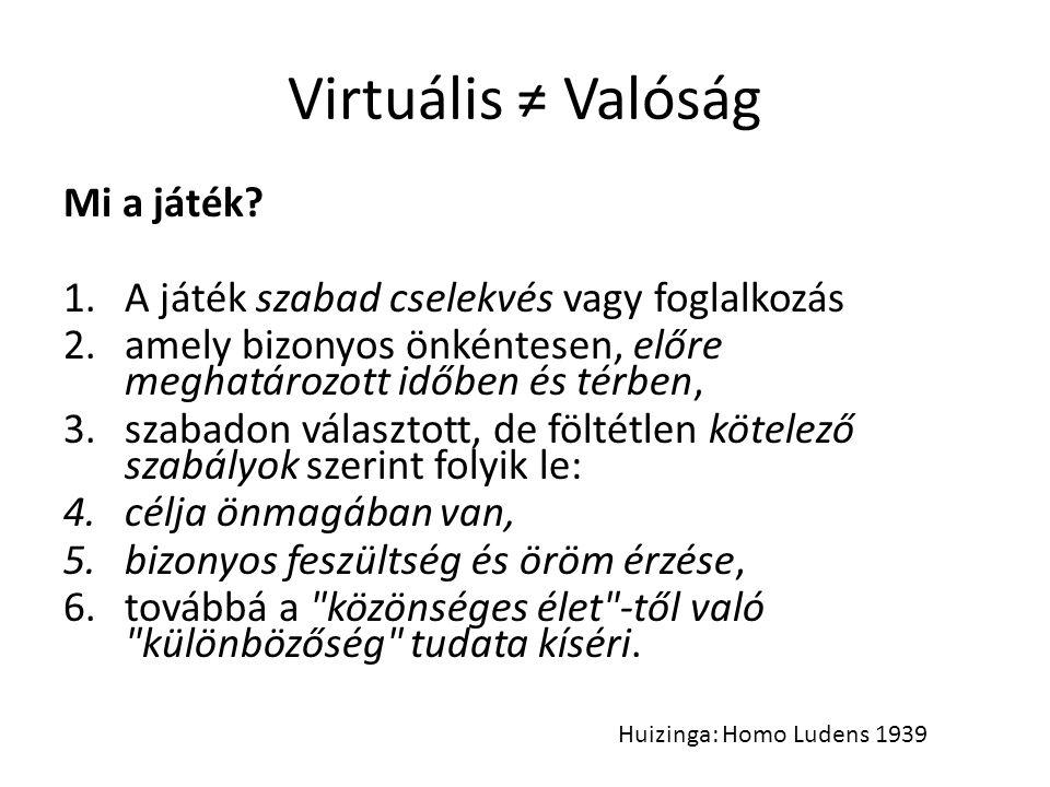 Virtuális ≠ Valóság Mi a játék? 1.A játék szabad cselekvés vagy foglalkozás 2.amely bizonyos önkéntesen, előre meghatározott időben és térben, 3.szaba