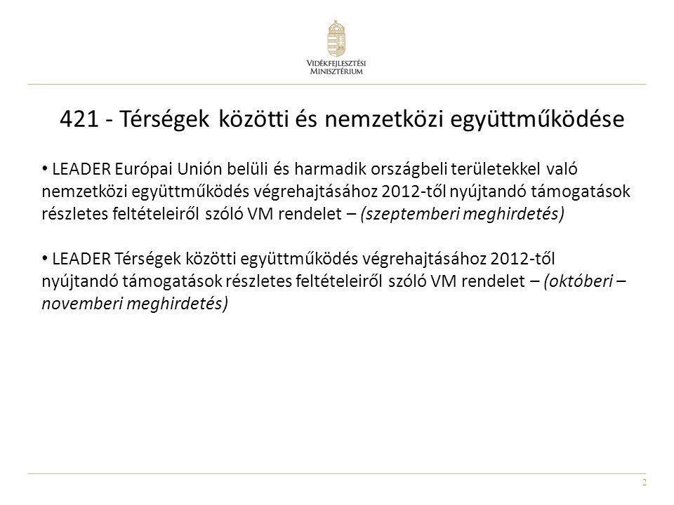 3 Nemzetközi együttműködése Ügyfél: magyarországi székhellyel rendelkező LEADER Helyi Akciócsoport Helyi partner: az együttműködésben ügyfélként résztvevő LEADER HACS illetékességi területéhez tartozó településhez kötődő szervezetek, emberek Az alábbi nemzetközi együttműködési intézkedésekre vehető majd igénybe támogatás: a)az EU-n belül: legalább egy hazai LEADER HACS és legalább egy, más EU tagállamban működő LEADER HACS között megvalósuló együttműködési projekt, b)együttműködés harmadik országokkal: legalább egy hazai LEADER HACS és legalább egy EU-n kívüli LEADER-megközelítés szerint szerveződött, jogi személyiséggel rendelkező csoport részvételével megvalósuló együttműködési projekt.