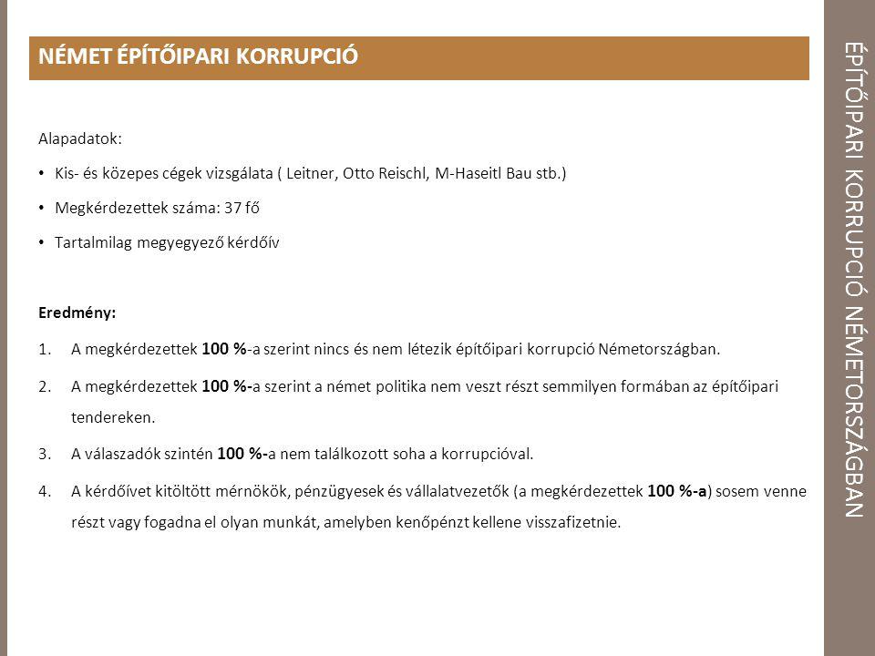 ÉPÍTŐIPARI KORRUPCIÓ NÉMETORSZÁGBAN NÉMET ÉPÍTŐIPARI KORRUPCIÓ Alapadatok: Kis- és közepes cégek vizsgálata ( Leitner, Otto Reischl, M-Haseitl Bau stb.) Megkérdezettek száma: 37 fő Tartalmilag megyegyező kérdőív Eredmény: 1.A megkérdezettek 100 % -a szerint nincs és nem létezik építőipari korrupció Németországban.