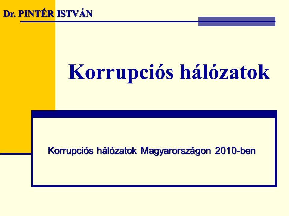 Korrupciós hálózatok Korrupciós hálózatok Magyarországon 2010-ben Dr. PINTÉR ISTVÁN