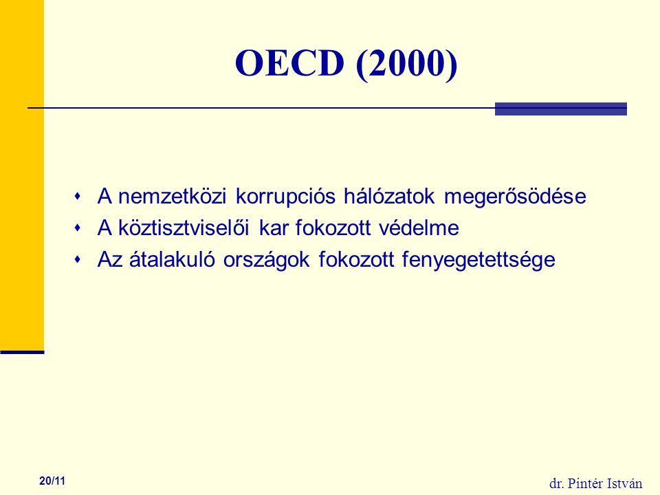 dr. Pintér István 20/11 OECD (2000)  A nemzetközi korrupciós hálózatok megerősödése  A köztisztviselői kar fokozott védelme  Az átalakuló országok