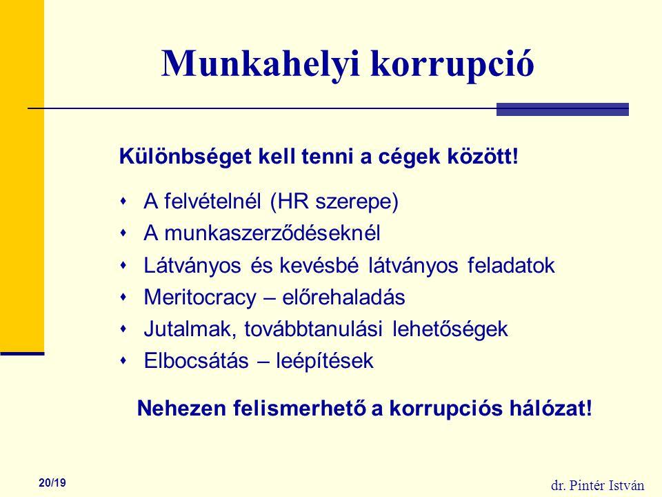 dr. Pintér István 20/19 Munkahelyi korrupció Különbséget kell tenni a cégek között.