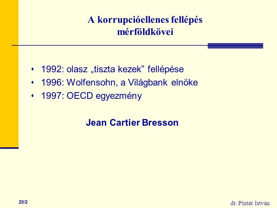 """dr. Pintér István 20/2 A korrupcióellenes fellépés mérföldkövei  1992: olasz """"tiszta kezek"""" fellépése  1996: Wolfensohn, a Világbank elnöke  1997:"""