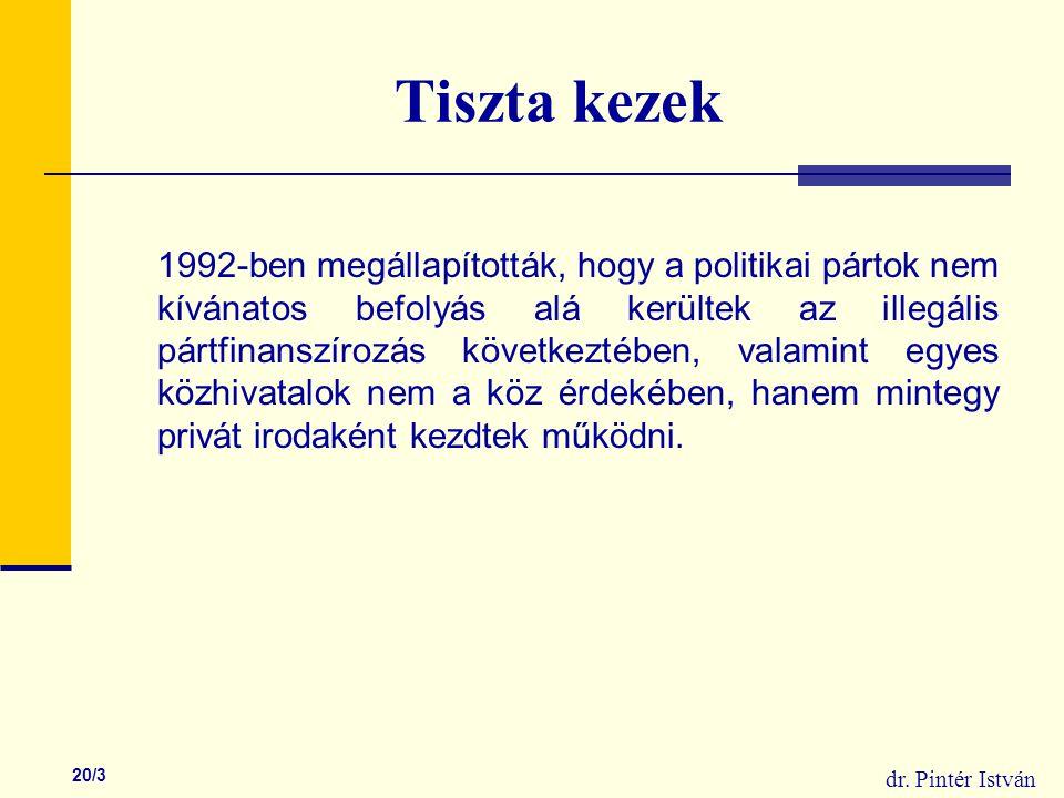 dr. Pintér István 20/3 Tiszta kezek 1992-ben megállapították, hogy a politikai pártok nem kívánatos befolyás alá kerültek az illegális pártfinanszíroz