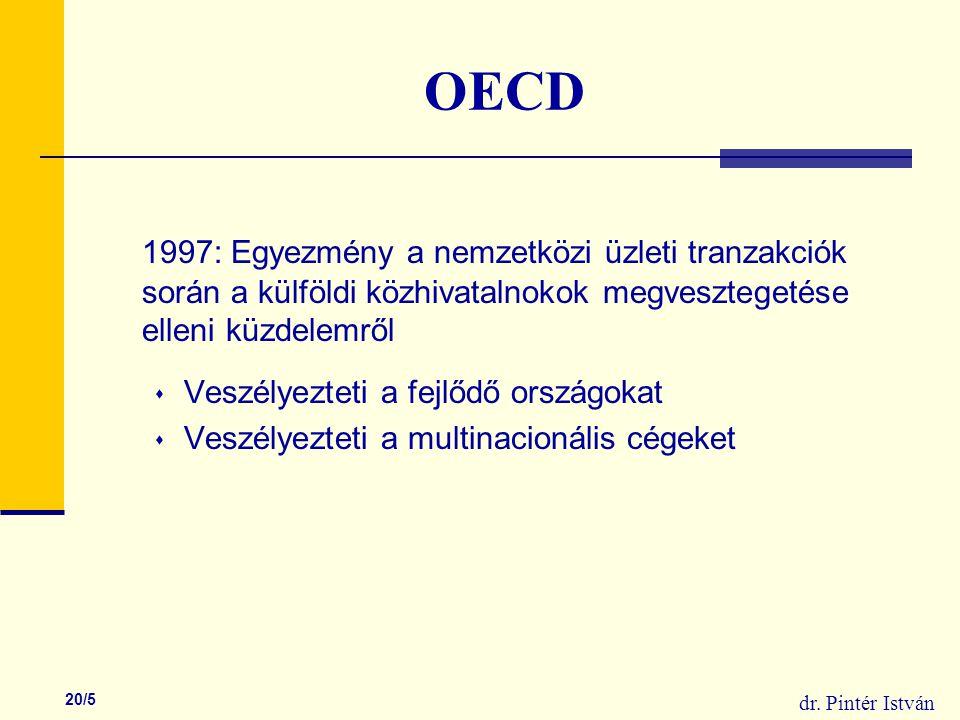 dr. Pintér István 20/5 OECD 1997: Egyezmény a nemzetközi üzleti tranzakciók során a külföldi közhivatalnokok megvesztegetése elleni küzdelemről  Vesz
