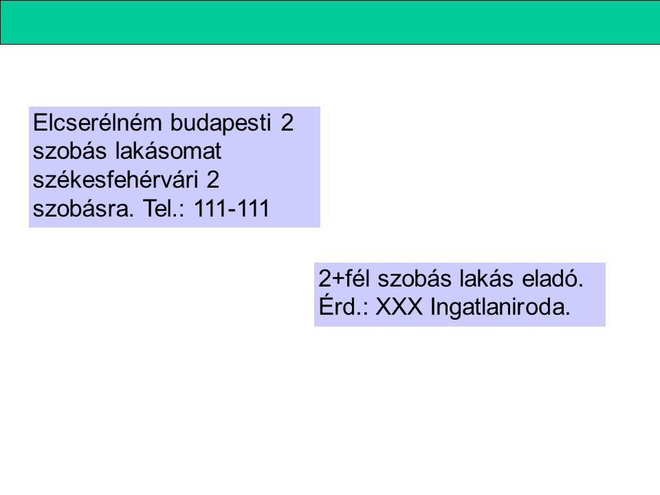 Elcserélném budapesti 2 szobás lakásomat székesfehérvári 2 szobásra. Tel.: 111-111 2+fél szobás lakás eladó. Érd.: XXX Ingatlaniroda.