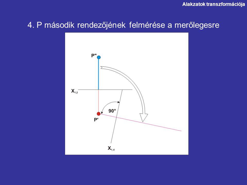 Alakzatok transzformációja 4. P második rendezőjének felmérése a merőlegesre