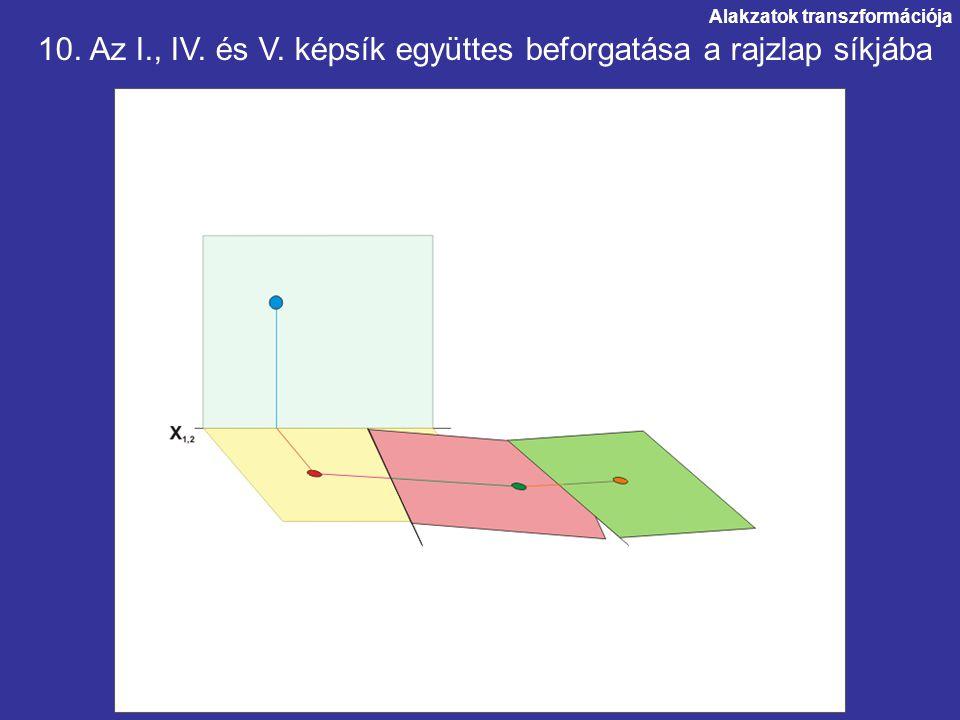 Alakzatok transzformációja. 10. Az I., IV. és V. képsík együttes beforgatása a rajzlap síkjába