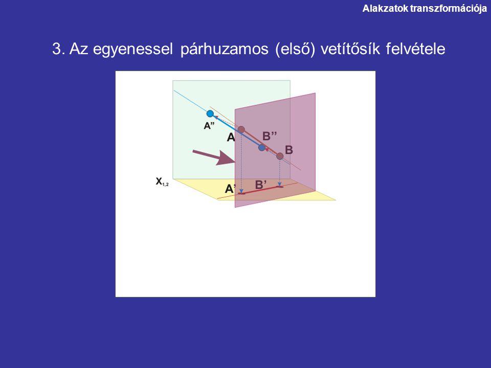 Alakzatok transzformációja 3. Az egyenessel párhuzamos (első) vetítősík felvétele