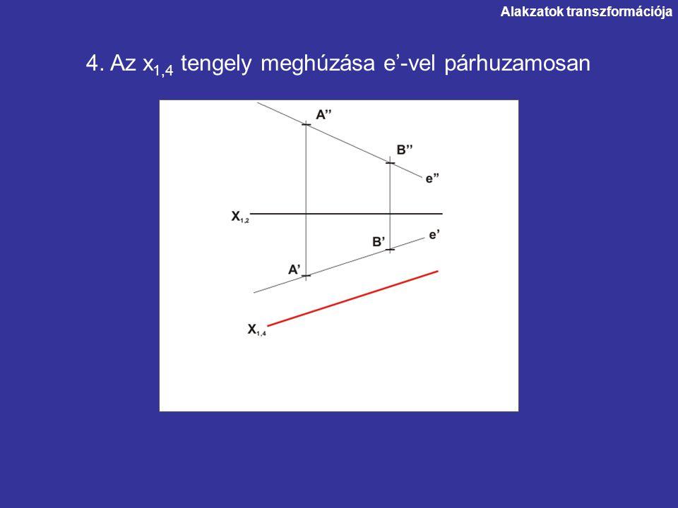 Alakzatok transzformációja 4. Az x 1,4 tengely meghúzása e'-vel párhuzamosan