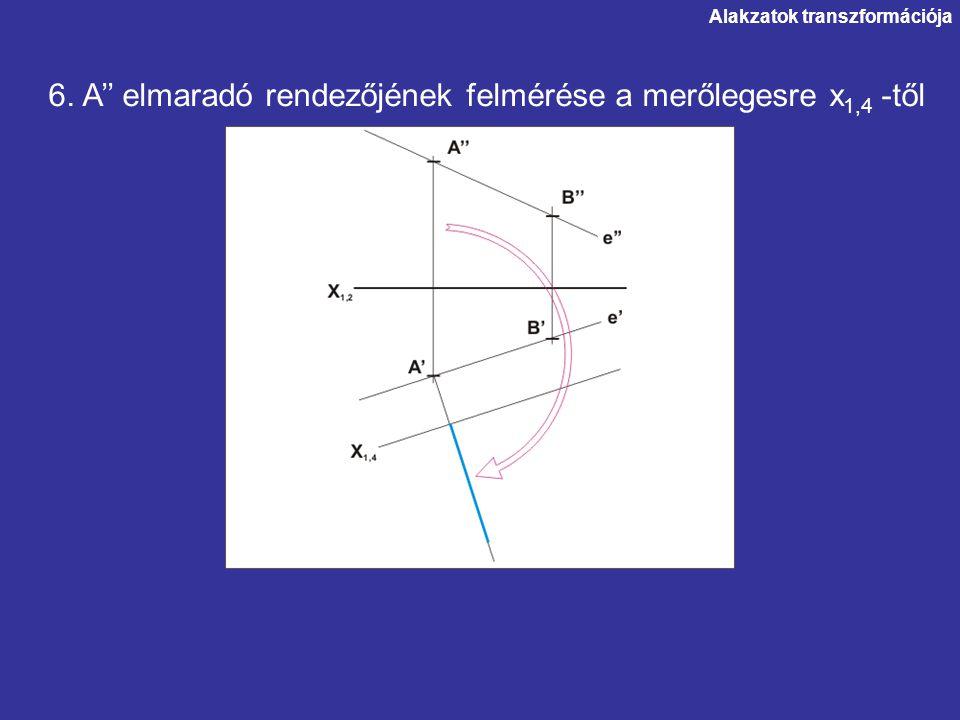 Alakzatok transzformációja 6. A'' elmaradó rendezőjének felmérése a merőlegesre x 1,4 -től