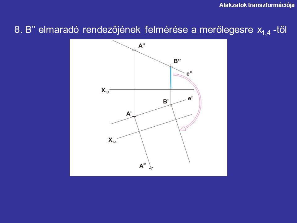 Alakzatok transzformációja 8. B'' elmaradó rendezőjének felmérése a merőlegesre x 1,4 -től
