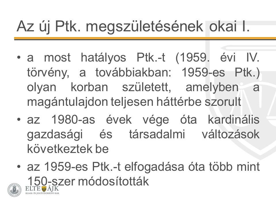 Az új Ptk. megszületésének okai I. a most hatályos Ptk.-t (1959. évi IV. törvény, a továbbiakban: 1959-es Ptk.) olyan korban született, amelyben a mag