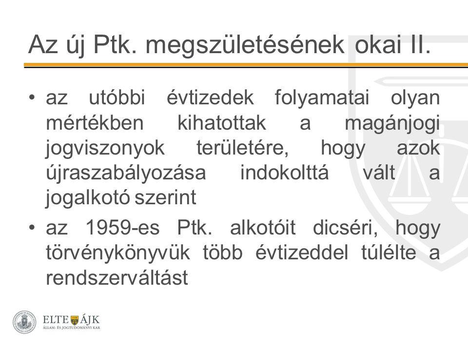 Az új Ptk. megszületésének okai II. az utóbbi évtizedek folyamatai olyan mértékben kihatottak a magánjogi jogviszonyok területére, hogy azok újraszabá