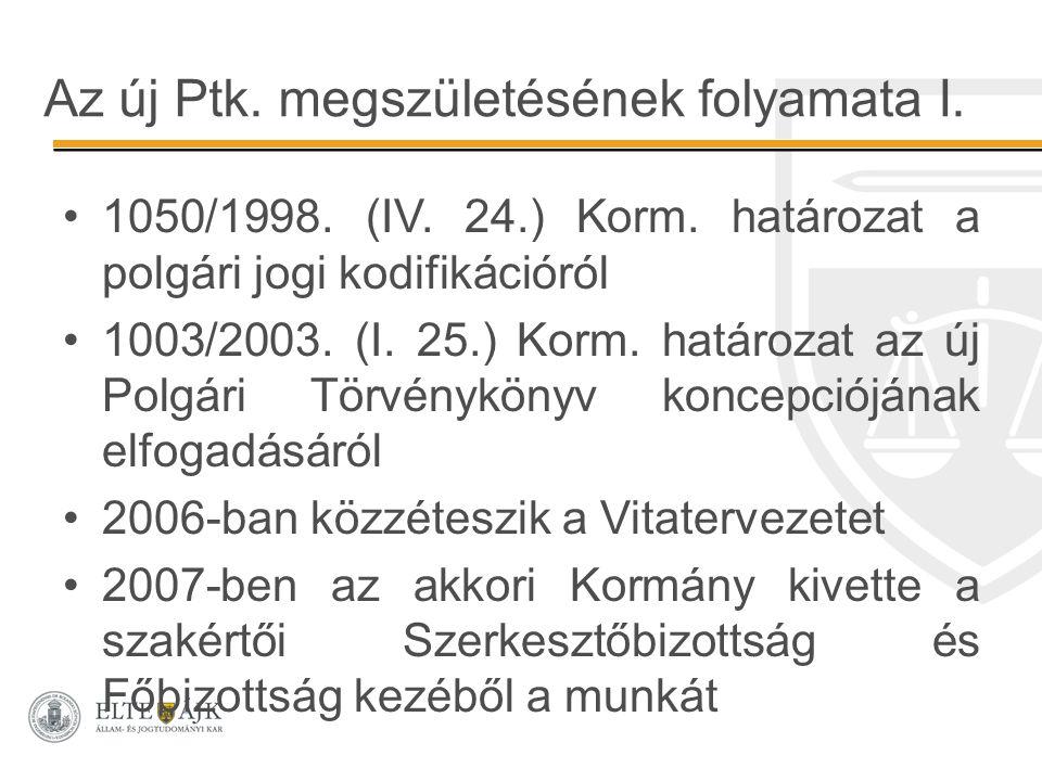 Az új Ptk. megszületésének folyamata I. 1050/1998. (IV. 24.) Korm. határozat a polgári jogi kodifikációról 1003/2003. (I. 25.) Korm. határozat az új P