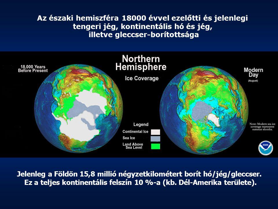 Az északi hemiszféra 18000 évvel ezelőtti és jelenlegi tengeri jég, kontinentális hó és jég, illetve gleccser-borítottsága Jelenleg a Földön 15,8 mill