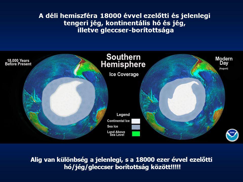 A déli hemiszféra 18000 évvel ezelőtti és jelenlegi tengeri jég, kontinentális hó és jég, illetve gleccser-borítottsága Alig van különbség a jelenlegi