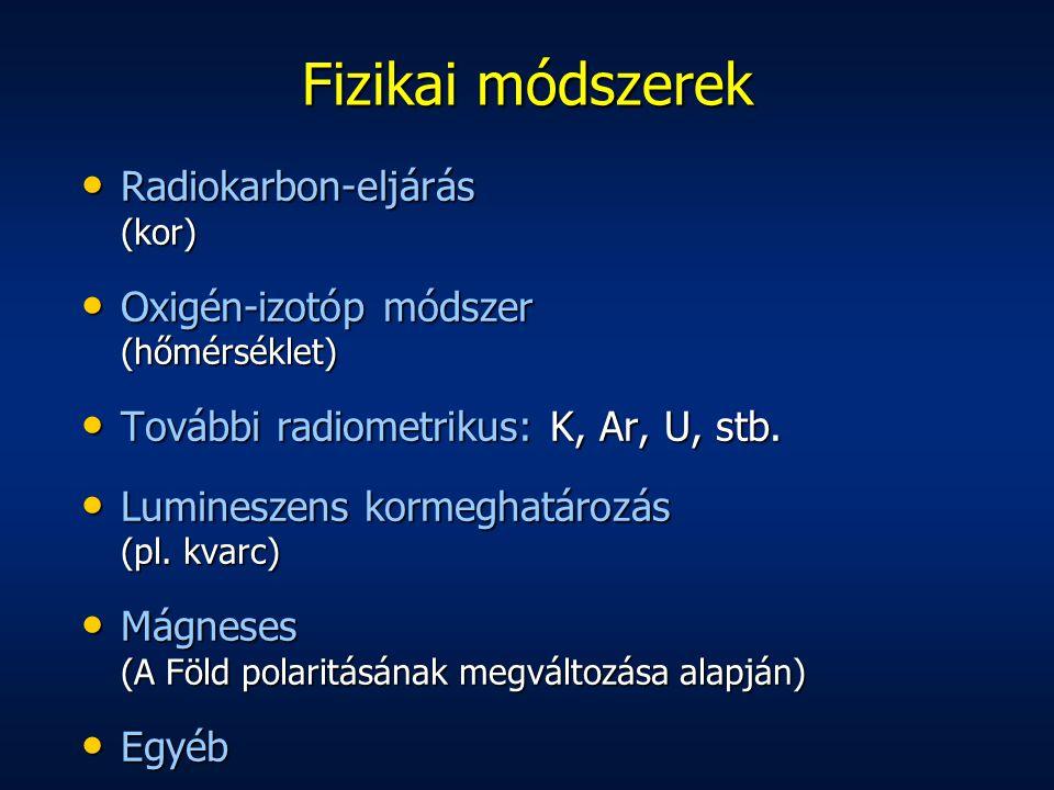 Fizikai módszerek Radiokarbon-eljárás (kor) Radiokarbon-eljárás (kor) Oxigén-izotóp módszer (hőmérséklet) Oxigén-izotóp módszer (hőmérséklet) További