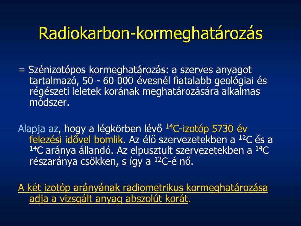 Radiokarbon-kormeghatározás = Szénizotópos kormeghatározás: a szerves anyagot tartalmazó, 50 - 60 000 évesnél fiatalabb geológiai és régészeti leletek