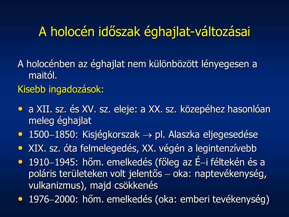 A holocénben az éghajlat nem különbözött lényegesen a maitól. Kisebb ingadozások: a XII. sz. és XV. sz. eleje: a XX. sz. közepéhez hasonlóan meleg égh