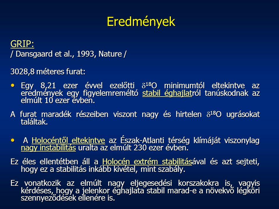 Eredmények GRIP: / Dansgaard et al., 1993, Nature / 3028,8 méteres furat: Egy 8,21 ezer évvel ezelőtti  18 O minimumtól eltekintve az eredmények egy