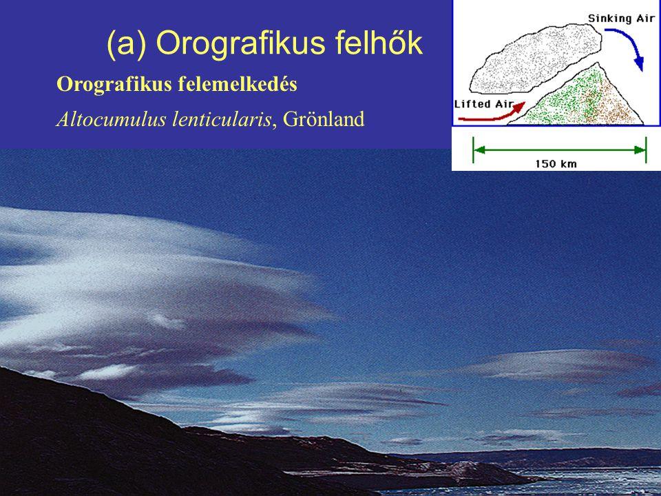 (a) Orografikus felhők Orografikus felemelkedés Altocumulus lenticularis, Grönland