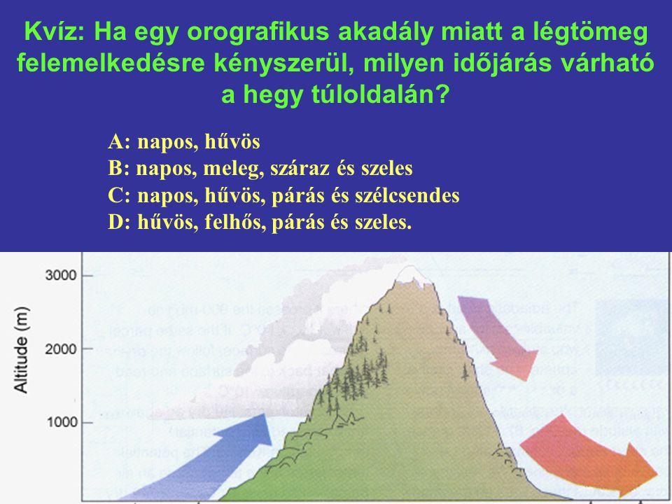 Kvíz: Ha egy orografikus akadály miatt a légtömeg felemelkedésre kényszerül, milyen időjárás várható a hegy túloldalán.