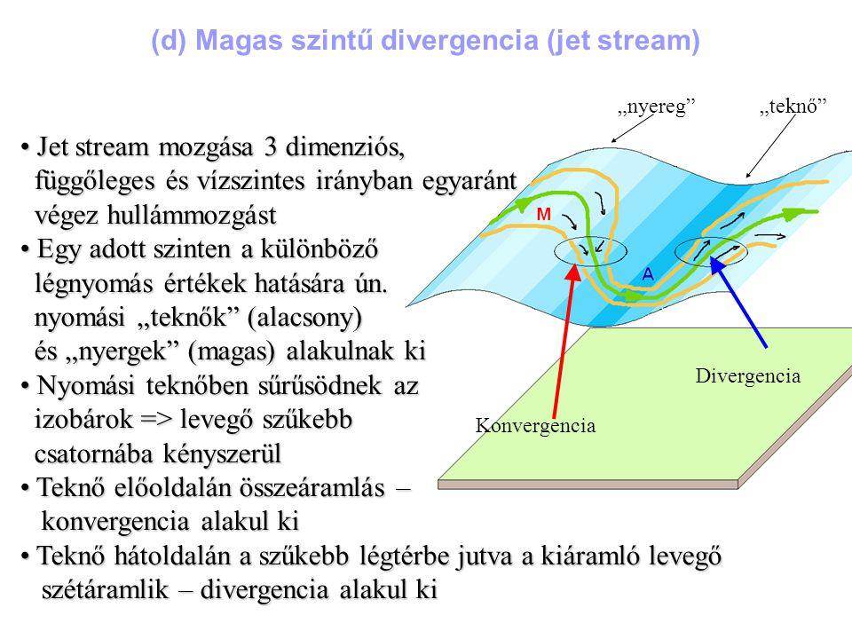 """""""nyereg """"teknő Konvergencia Divergencia Jet stream mozgása 3 dimenziós, Jet stream mozgása 3 dimenziós, függőleges és vízszintes irányban egyaránt függőleges és vízszintes irányban egyaránt végez hullámmozgást végez hullámmozgást Egy adott szinten a különböző Egy adott szinten a különböző légnyomás értékek hatására ún."""