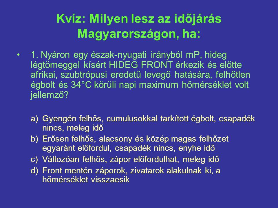 Kvíz: Milyen lesz az időjárás Magyarországon, ha: 1.