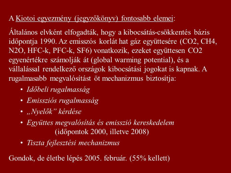 A Kiotoi egyezmény (jegyzőkönyv) fontosabb elemei: Általános elvként elfogadták, hogy a kibocsátás-csökkentés bázis időpontja 1990. Az emisszós korlát