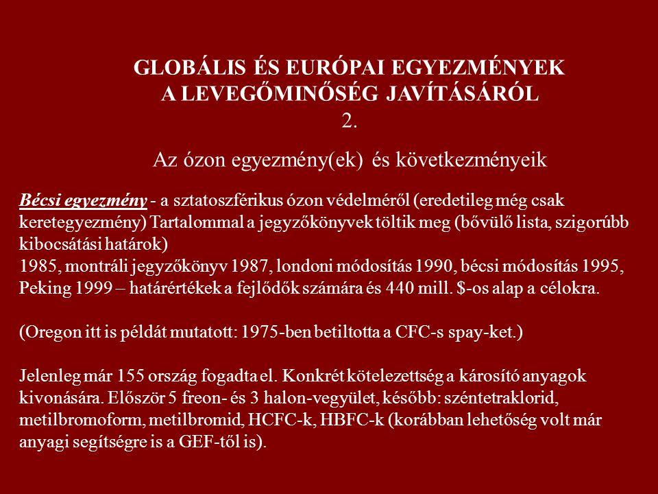 GLOBÁLIS ÉS EURÓPAI EGYEZMÉNYEK A LEVEGŐMINŐSÉG JAVÍTÁSÁRÓL 2. Az ózon egyezmény(ek) és következményeik Bécsi egyezmény - a sztatoszférikus ózon védel