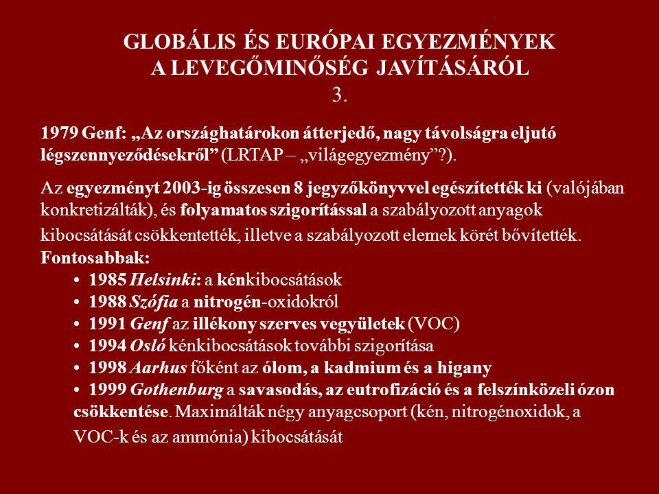 """GLOBÁLIS ÉS EURÓPAI EGYEZMÉNYEK A LEVEGŐMINŐSÉG JAVÍTÁSÁRÓL 3. 1979 Genf: """"Az országhatárokon átterjedő, nagy távolságra eljutó légszennyeződésekről"""""""